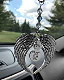 "Memorial Angel Wing Focal with ""No Longer Here But Still Near' Rear view mirror car charm, In Memory Sympathy Bereavement Keepsake Gift Remembrance Lost Loved Ones Gift"