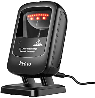Eyoyo Handsfree 1D 2D قارئ باركود سطح المكتب، ماسح ضوئي متعدد الاتجاهات مع كابل USB، قارئ شاشة الصور التلقائي لمتاجر السوب...