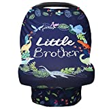 Baby Car Seat Cover for Boys, Little Brother Car Seat Canopy, Multiuse Nursing Covers, Dinosaur Theme Infant Carrier Cover Summer, Breastfeeding Scarf Newborn, Ultra-Soft Breathable