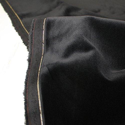 TOLKO Baumwollstoff - Weicher SAMT - Abriebfest u belastbar - für Polsterungen, Vorhang, Verdunkeln u Bekleidung als Meterware (Schwarz)