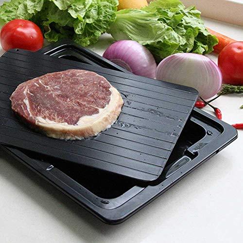 QUUY Bandeja de descongelación rápida de Aluminio para Alimentos congelados con Caja de Agua, Bandeja de descongelación en Carne congelada o Alimentos, Revestimiento Antiadherente, sin Electricidad