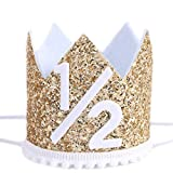 WAHAWU Light Yellow Half Birthday Party Crown - 1/2 Golden Birthday Party Hat, Happy Birthday Crown for Kids, Party Photo Prop, Party Decorations