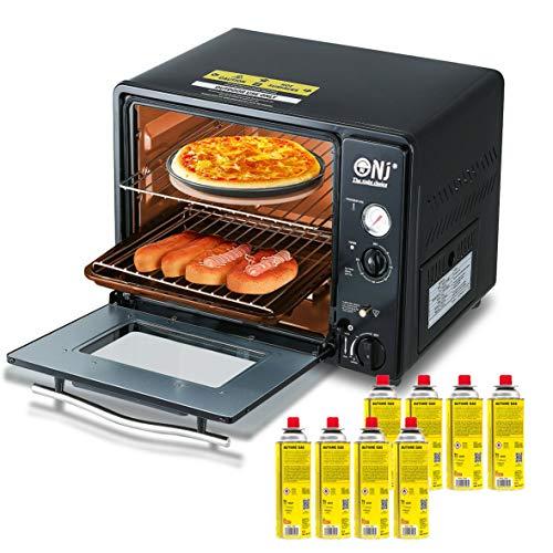 Portable Mini Gas Backofen 30 Liter, Camping Grill 1.3kW Timer Piezo GF-300 + 8x Gaskartuschen 227g