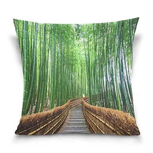Bamboo Road Zen Garden Housse de Coussin 18 'x 18' Throw Pillow Cover Coussin Decorativa Housse de Coussin Suave para sofá Granja Sala de Estar Decoración del hogar Cama Sofá Dormitorio Coche