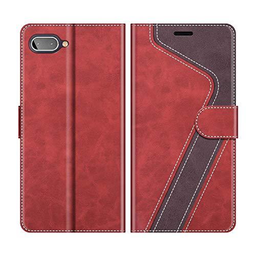MOBESV Funda para Blackberry Key2 LE, Funda Libro Blackberry Key2 LE, Funda Móvil Blackberry Key2 LE Magnético Carcasa para Blackberry Key2 LE Funda con Tapa, Rojo