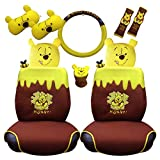 Winnie the Pooh Car Accessory Set (10 Pieces: seat covers, belts, gear cover etc)