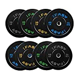 Olympic Bumper Weight Plates, 230lbs Rubber Plate with 2-Inch Steel Insert Rubberized Weightlifting Barbell Plates (Four pairs of barbell)