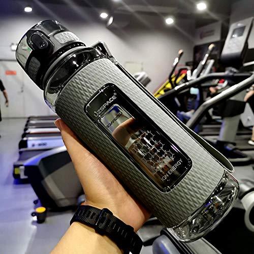 XTR Sport Wasserflaschen Tragbares Fitnessstudio Anti-Fall Auslaufsicher Auslauf Fitnesskessel Tritan Plastik-Trinkflasche mit großer Kapazität BPA-frei, 900 ml Grau