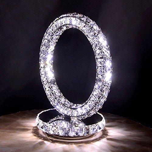 WSHFOR Minimalistische Mode Edelstahl Kristall LED Tischlampe Schlafzimmer Nachttischlampe Wohnzimmer Drei Seiten Crystal Light, modische Kristall Lampe (Farbe : White light)
