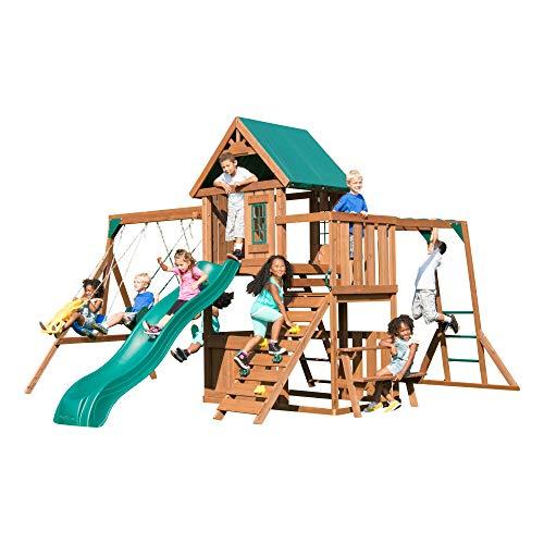 Swing-N-Slide WS 8351 Knightsbridge Plus Swing Set with Slide, Glider, Swings, Monkey Bars, Climbing Wall and Picnic Table, Wood