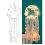 Sis LED Dream Catcher,White Dream Catcher Feather Mobile Butterfly Decoration for Girl Bedroom Wall Hanging Home Décor Ornament Craft Native American (Butterfly led)