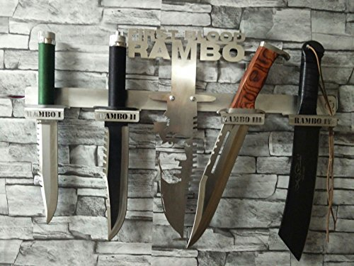 Arizona Outlet Rambo-Messer-Set 1-2-3 und 4 + Edelstahl-Design-Wand-Halterung
