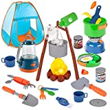 Liberry Kids Camping Set with Pop up Tent, 32 pcs Camping Pretend Play Toys for Outdoor Indoor, Delux Toddlers Camping Gears with Realistic Light and Sound Campfire (Batteries are Not Included)