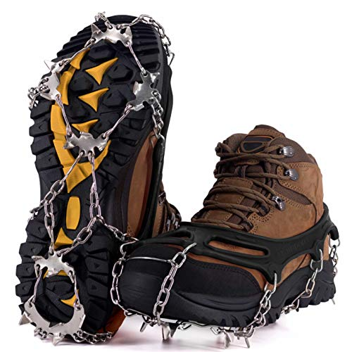 NewDoar Ice Cleats Crampons Traction19 Spikes Stainless Steel Anti Slip Ice Snow Grips for Women Kids Men Shoes Boots Safe Protect for Mountaineering Climbing Hiking Walking FishingBlackXL