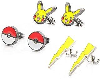 Pokemon Pikachu Lightning Bolt Poke Ball Earrings 3-Pack