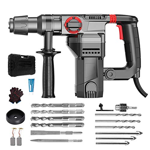 Heavy Duty Rotary Hammer, 1600W Demolition Hammer for Concrete, Impact Drill Electric Pick Safety Clutch 3 Functions with Vibration Control, Including Grease, Chisels and Drill Bits,Luxury