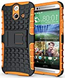 NEON Orange Grenade Rugged Skin Hard CASE Cover Stand for HTC ONE E8 (ACE/Vogue)