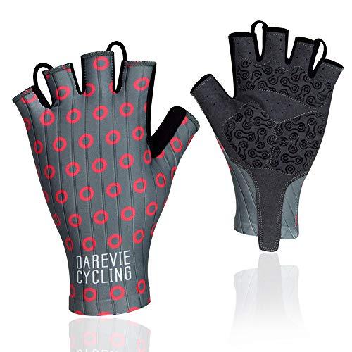 Darevie Cycling Gloves, Shock-Absorbing Half Finger Biking Gloves, Breathable Half Finger Bicycling Gloves, Anti-Slip Shockproof Gel Padded Mountain Bike Gloves for Man, Woman