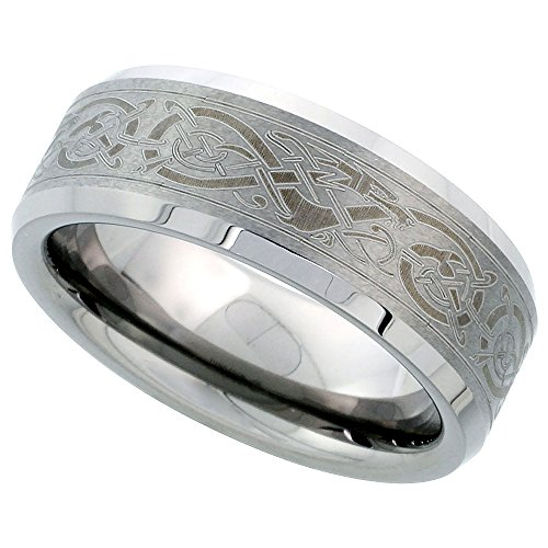 Sabrina Silver Tungsten Carbide 8 mm Flat Wedding Band Ring Etched Celtic Dragon Pattern Beveled Edges, Size 11