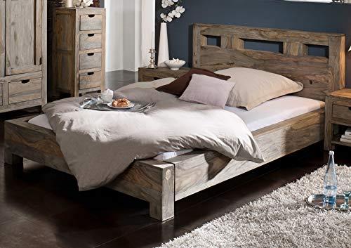 MASSIVMOEBEL24.DE Sheesham Holz massiv Bett 200x200 Massivmöbel Nature Grey #204