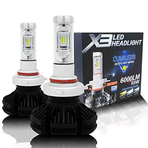 Alla Lighting 2017 X3 Newest 6000lm DIY 3 Colors White Gold Yellow Ice Blue Xtremely Super Bright High Power ZES Chips Mini 9005 HB3 LED Headlight Conversion Kits Bulbs - 2 Year Warranty (9005 HB3)