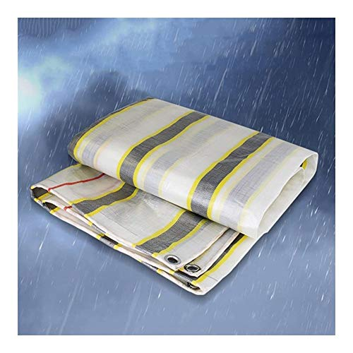ALGFree-Parasole Vela Tarpaulin Sheet, Awning Cloth Wear-resistant Anti-cold Sun Shade Anti-wind Polyethylene Stripe Carport,330g/m², 24 Sizes Optional (Color : A, Size : 10x20m)