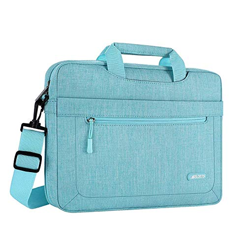 MOSISO Laptop Shoulder Bag Compatible with MacBook Pro 16 inch A2141, 15-15.6 inch MacBook Pro, Notebook, Polyester Messenger Carrying Briefcase Sleeve with Adjustable Depth at Bottom, Hot Blue