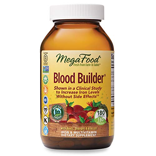 MegaFood, Blood Builder, Iron Supplement, Support Energy and Combat Fatigue Without Nausea or Constipation, Non-GMO, Vegan, 180 Tablets/Take 1 Daily (FFP)