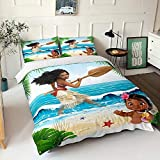Moana Duvet Cover Set Queen Size Cartoon Quilt Cover for Boys Girls 3 Pieces Moana Bedding Set Bedspread Comforter Cover Without Comforter