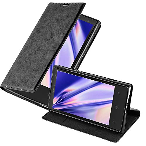 Cadorabo Hülle für Nokia Lumia 1020 - Hülle in Nacht SCHWARZ – Handyhülle mit Magnetverschluss, Standfunktion und Kartenfach - Case Cover Schutzhülle Etui Tasche Book Klapp Style