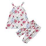 Longra Vêtements pour Enfants Filles Bambin Fille sans Manches Imprimé Vintage T-Shirt Gilet Bébé Filles Boho Col Rond...
