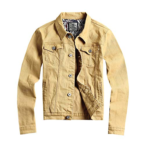 LONGBIDA Men's Casual Button Down Denim Jacket Classic Slim Fit Jean Coat(Khaki,Large)