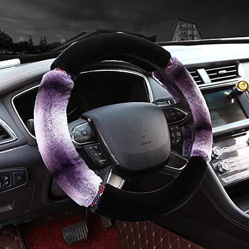 Steering Wheel Cover for Women,Cute Fuzzy Universal 15 Inch Auto Steering Wheel Cover,Fluffy Car Steering Wheel Protector (Purple Black)