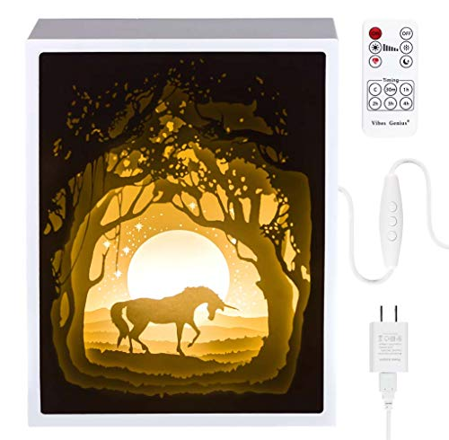 Preisvergleich Produktbild Papierschnitt Licht-Box Beleuchtung Lampe 6 LED Perlen Romantische Lamp entspannende Stimmung Lichtprojektor-Baby-Kinderzimmer-Schlafzimmer Kinder Zimmer und Weihnachts-Geschenk (Einhorn)