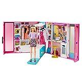 Barbie Armario de ropa muñeca con 25 accesorios de moda (Mattel GBK10)