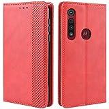 HualuBro Handyhülle für Motorola One Macro Hülle, Moto G8 Play Hülle, Retro Leder Stoßfest Klapphülle Schutzhülle Handytasche LederHülle Flip Hülle Cover für Motorola One Macro Tasche, Rot