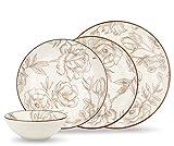 Geschirrset 24-teilig aus Porzellan für 6 Personen | Suppenteller, Flache Essteller, Dessertteller und Schüsseln | Hochwertiges modernes Vintage Tafelservice Kombiservice | Blume Rose - weiß/braun