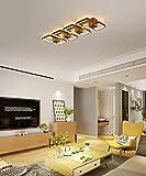 LED Moderne Rechteck Deckenleuchte Wohnzimmerlampe Brown Geometrie Design Dimmbar mit Fernbedienung...