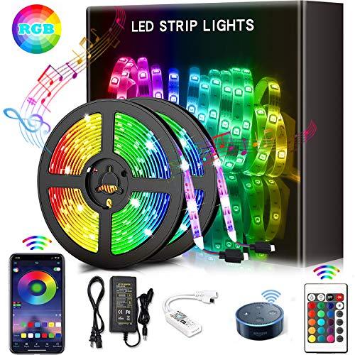 YOMYM Tira LED, Luces LED con Kit, Tira de luz controlada por teléfono Inteligente, inalámbrico, WiFi 5050, Trabaja con Sistema Android y iOS, Alexa, Asistente de Google, 32.8ft...