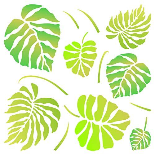 Monstera Blätter Schablone – wiederverwendbare große Tropische Philodendron Wandschablone – Verwendung auf Papierprojekten, Scrapbooks, Wänden, Böden, Stoff, Möbel, Glas, Holz usw. L
