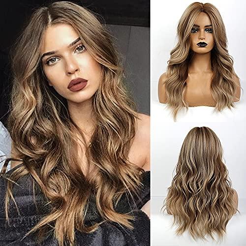 Emmor longue perruque brune pour femmes cheveux naturels perruques ondulées synthétiques avec partie moyenne perruques complètes utilisation quotidienne
