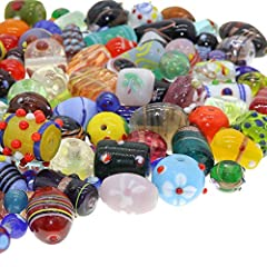 🌟 Beautiful glass bead mix of lampwork murano and other unique glass beads. Crafting beads with colorful designs and shapes. 🌟 Assorted small and large jewelry making beads for crafts, necklace beads, bracelet beads, and other jewelry making projects...