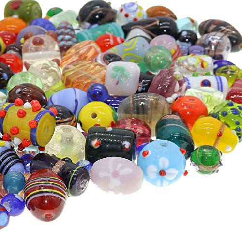 Fun-Weevz 120-140 PCS Assorted Glass Beads for Jewelry Making Adults, Bulk Glass Beads for Crafts, Lampwork Murano Bead Mix for Bracelets and Necklaces,Crafting Beads Supplies Kit, Large & Small Beads