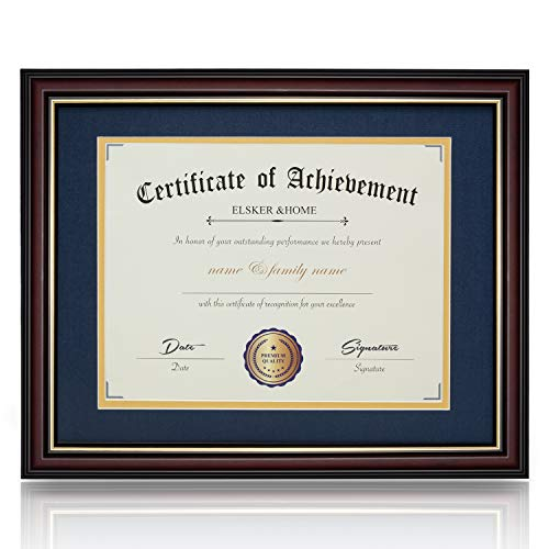 ELSKER&HOME Diploma Frame - Classic Cherry Wood Color Wide Frame - ONLY Fits 11×14 Document/Certificate - Acrylic Plate - Table Top or Wall Mount Display (Double Mat, Navy Mat with Golden Rim)