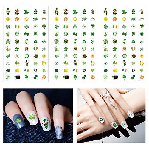 Howaf 400pcs saint patrick decoration Auto-adhésif Nail Art Sticker Autocollant à Ongles accessoires pour filles femmes saint patrick cadeau