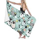 Ewtretr Toalla de Playa Bath Towels Retro Sheep Microfiber Bath Towel Soft High Absorption...
