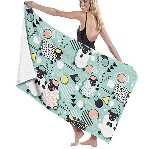 Ewtretr Toalla de Playa Bath Towels Retro Sheep Microfiber Bath Towel Soft High Absorption Quick Drying Bathroom Travel Sports and More130cmx80cm