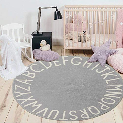 HEBE ABC Alphabet Kids Rug for Nursery Bedroom Playroom 4x4ft Round Educational Baby Play Rug Crawling Mat Large Activity Mat Cute Circle Floor Carpet Non-Slip,Grey