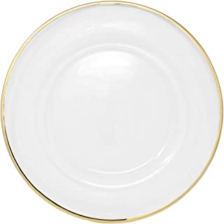 Clear Glass Charger 13 Inch Dinner Plate With 0.5 CM Metallic Rim - Set of 4 - Gold