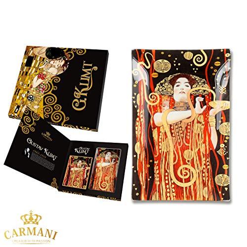 CARMANI - Plaque de verre rectangulaire décorative pour snack, plat de fete, noix, assiette de service imprimée avec la peinture «Hygieia» de Gustav Klimt 15x23cm